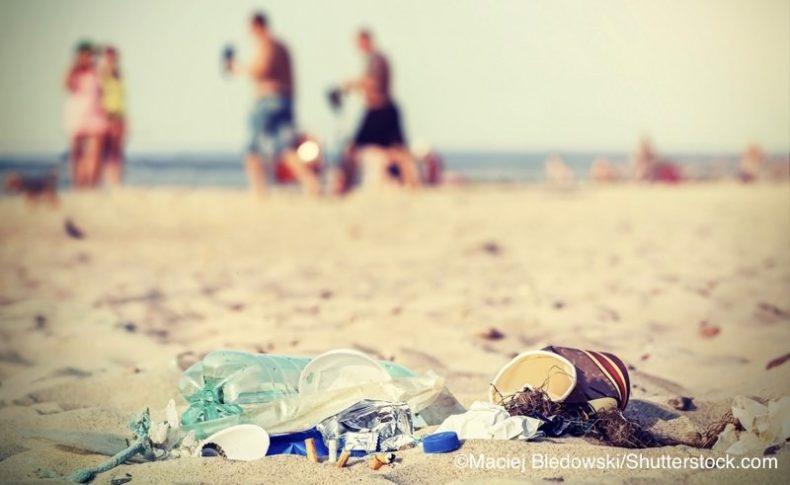 ビーチに散乱するプラスチックごみ