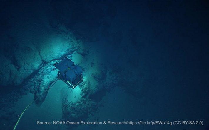 深海の海底と無人探査機