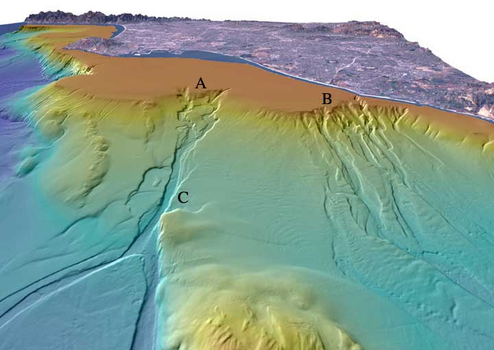 海底谷の概念図