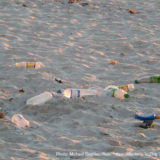 浜辺に散乱するプラスチックごみ