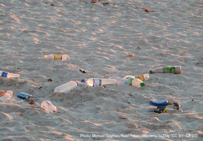 ビーチに散乱するペットボトルごみ