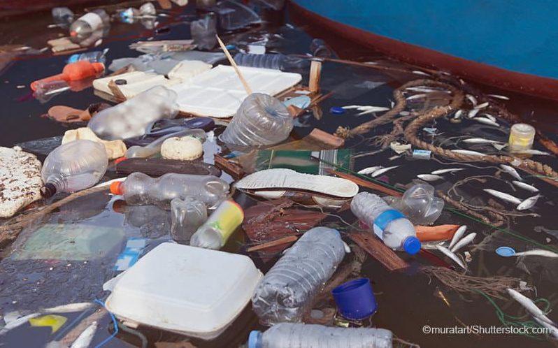 海に浮かぶ様々なプラスチックごみ