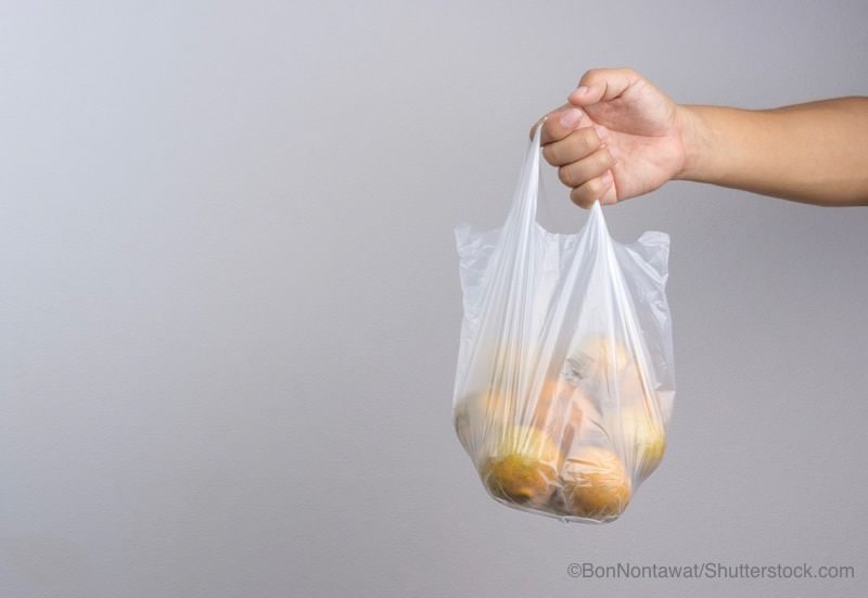 ポリエチレンのレジ袋にはいった果物