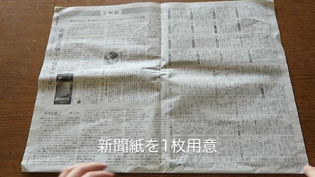 新聞紙を横向きにおいた様子