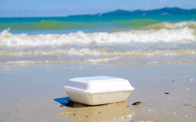 浜辺の発泡スチロール容器ごみ