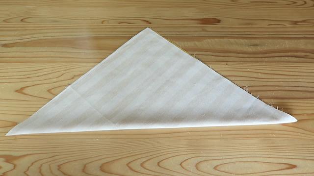 表を内側にして三角に折った様子