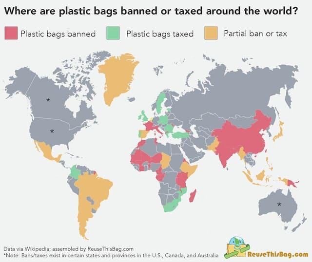 レジ袋廃止・課税国マップ