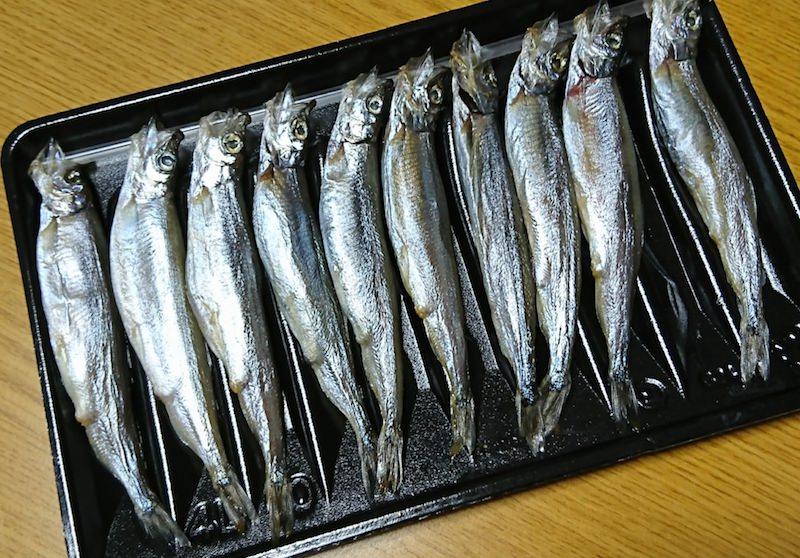 プラスチックトレーに乗った魚