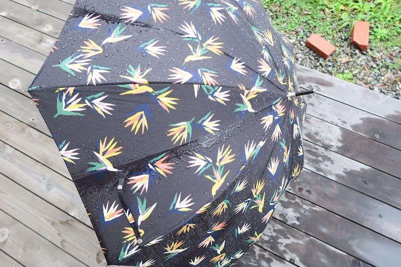 雨に打たれて濡れた傘