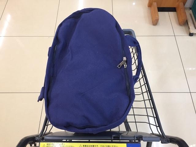 バッグの蓋をしてスーパーのカートに乗せて運ぶ様子