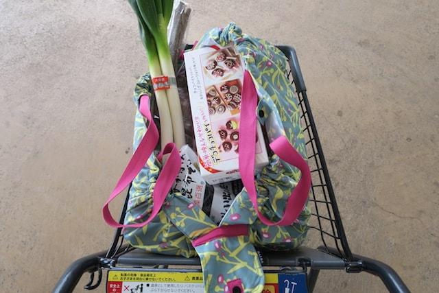 スーパーのカートにたくさん荷物の入ったシュパットを乗せて運ぶ様子