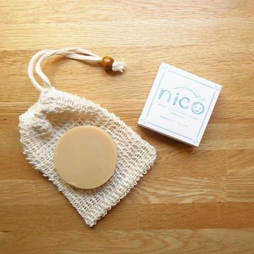 ニコ石鹸と麻の石鹸袋