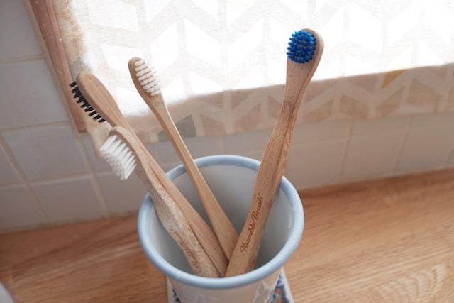 竹歯ブラシと竹の舌クリーナーが一緒に歯ブラシ立てに入っている様子