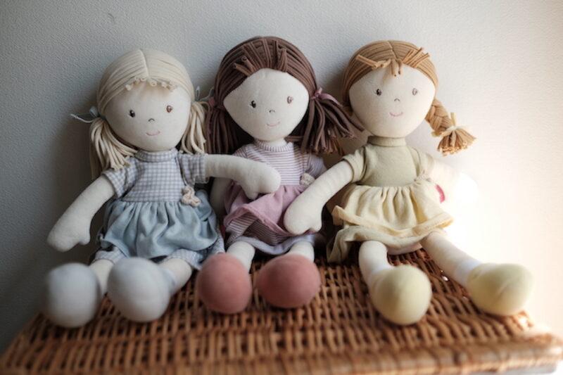 なかよしライブラリーのオーガニックコットン人形3種類