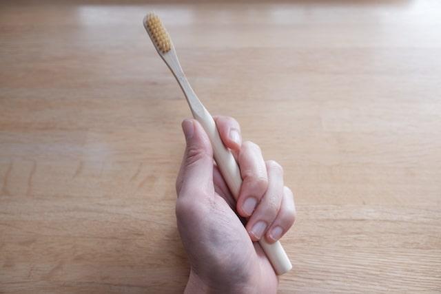 丸型の竹歯ブラシを手で握る様子