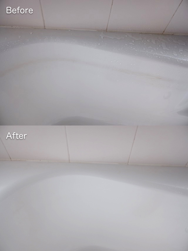 浴槽の皮脂汚れを重曹でお掃除した前後の様子