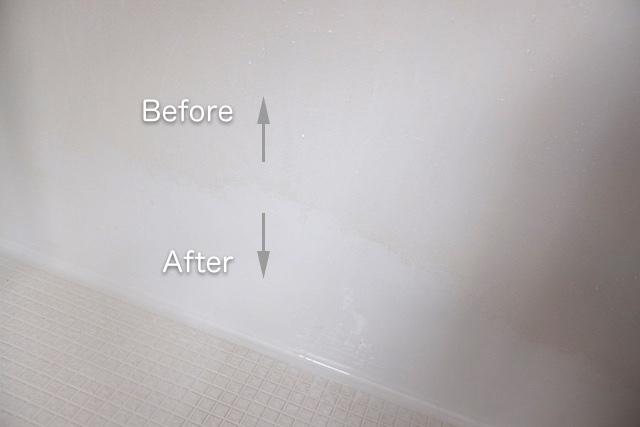 壁の石鹸カスをクエン酸スプレーでお掃除した前後の様子