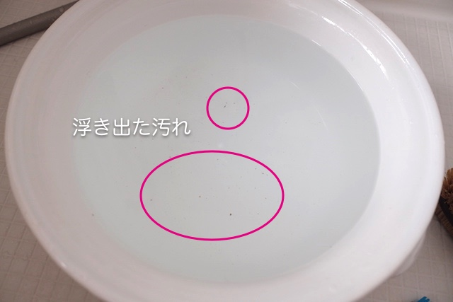 シャワーヘッドから重曹水に浮き出た小さな汚れ