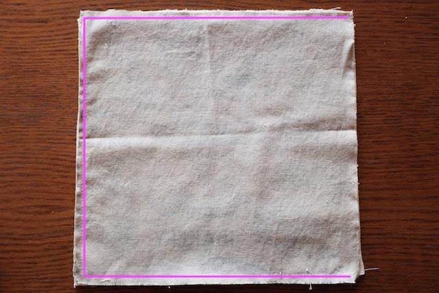 布とタオルを中表に塗った様子
