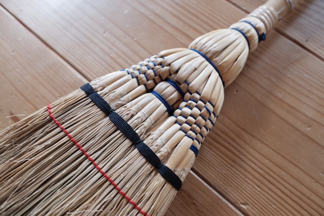 江戸箒のきれいな編み目模様
